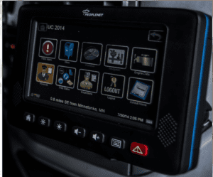 close up PeopleNet system in Ivan Armstrong trucks